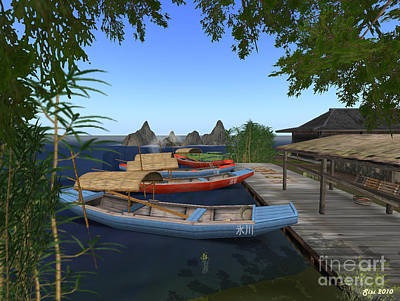 Art Print featuring the digital art Chinese Boats by Susanne Baumann