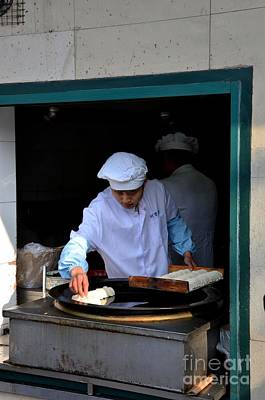 Photograph - Chinese Chef Cooks Food On Outdoor Skillet Shanghai China by Imran Ahmed