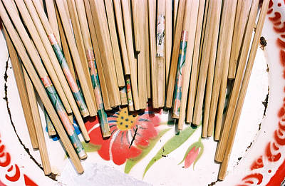 Photograph - Chinese Chopsticks On A Colorful Plate by Dean Harte