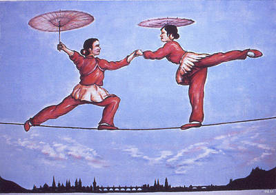 Painting - Chinese Circus Highwire - Oil by Art America Gallery Peter Potter