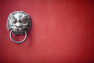 Photograph - Chinese Dragon Head Door Knocker On A by Tony Burns