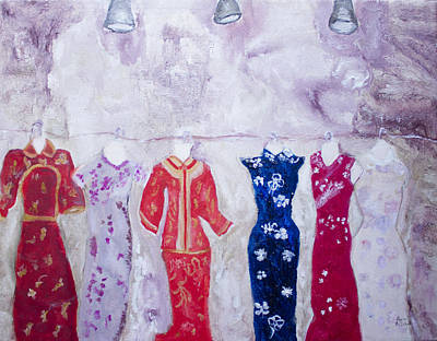 Painting - Chinese Dresses by Aleezah Selinger