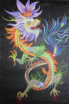 Painting - Chinese Fire Dragon by Tracey Harrington-Simpson