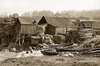 Photograph - Chinese Fishing Village Pacific Grove California Circa 1897 by California Views Mr Pat Hathaway Archives