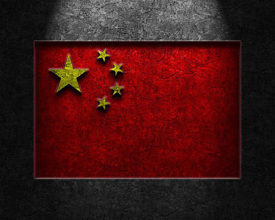 Print featuring the digital art Chinese Flag Stone Texture by Brian Carson