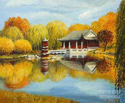 Willow Lake Painting - Chinese Garden In Berlin by Kiril Stanchev