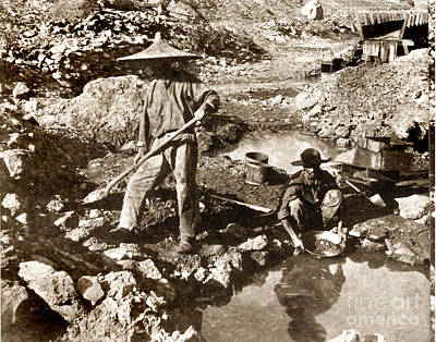 Photograph - Chinese Gold Mine California Circa 1876 by California Views Mr Pat Hathaway Archives