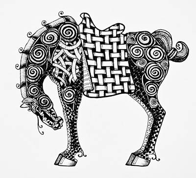 Animals Drawings - Chinese Horse - Zentangle by Jani Freimann