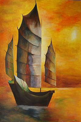 Print featuring the painting Chinese Junk In Ochre by Tracey Harrington-Simpson