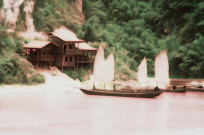 Kiang Photograph - Chinese Junk Sailboat As An Oil Painting by Tracy Winter
