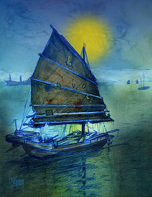 Digital Art - Chinese Junk by Stan Kwong