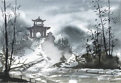 Print featuring the painting Chinese Landscape by Sean Seal