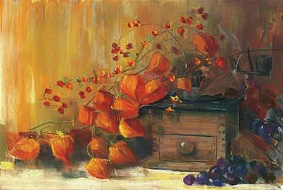 Tangerines Painting - Chinese Lanterns by Carol Rowan