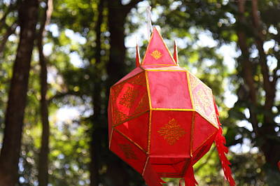 Lantern Photograph - Chinese Lanterns - Wat Phrathat Doi Suthep - Chiang Mai Thailand - 01137 by DC Photographer