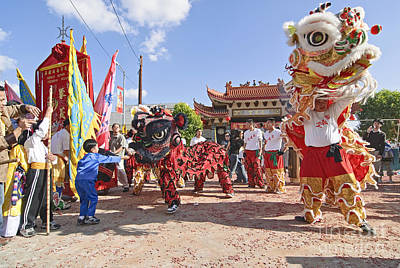 Gong Photograph - Chinese Lion Dancers During A Celebration. by Jamie Pham