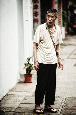 Wan Chai Photograph - Chinese Man In Wan Chai by Thierry CHRIN