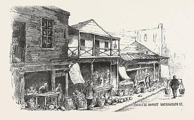 Chinese Market Sacramento Street, The Chinese Quarters, San Art Print