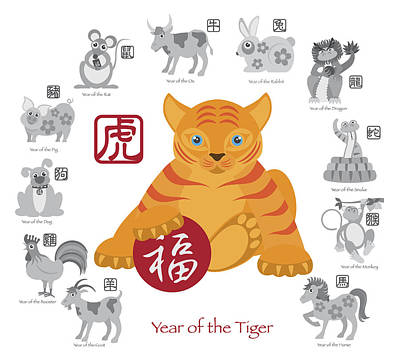 Chinese New Year Tiger Color With Twelve Zodiacs Illustration Art Print by Jit Lim