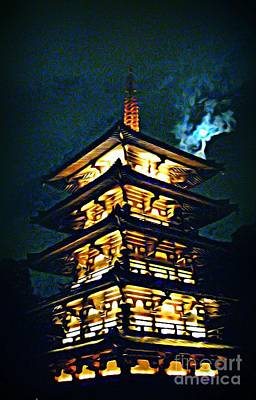 Disney Artist Painting - Chinese Pagoda At Night With Full Moon by John Malone