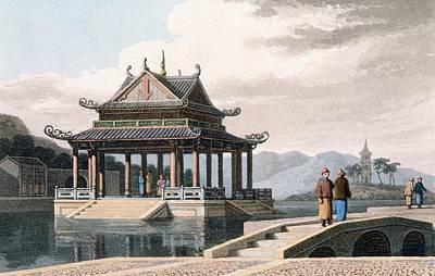 Oriental Bridges Drawing - Chinese Pavilion, 1810 by Thomas & William Daniell