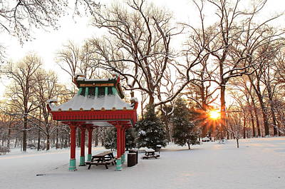 Photograph - Chinese Pavilion Winter Sunrise by Scott Rackers