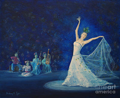 Painting - Chinese Peacock Dance-1 by Anthony Lyon