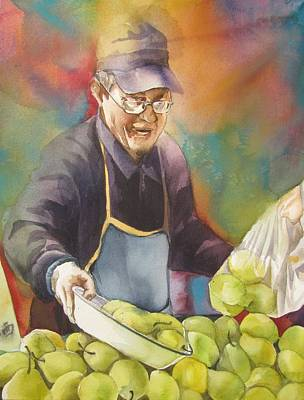Chinese Pear Seller Art Print by Alfred Ng