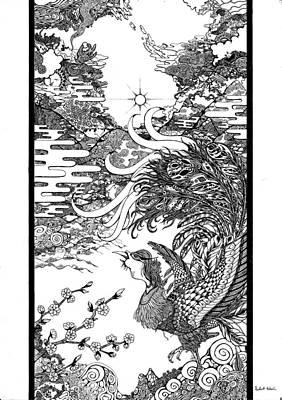 Phoenix Bird Drawing - Chinese Phoenix by Robert Edwin