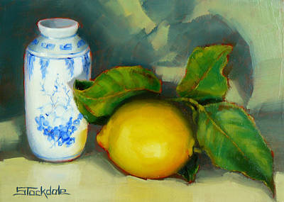Painting - Chinese Pot And Lemon by Margaret Stockdale