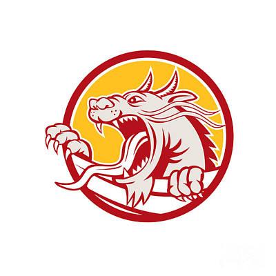 Chinese Red Dragon Head Growling Circle Retro Art Print