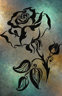 Drawing - Chinese Rose. Blue by Jenny Rainbow