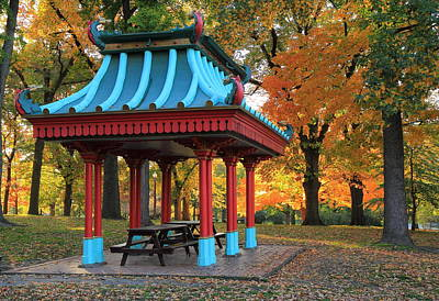 Chinese Shelter In Autumn Art Print