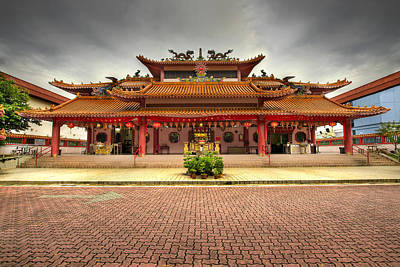 Chinese Temple Paved Square Art Print by David Gn