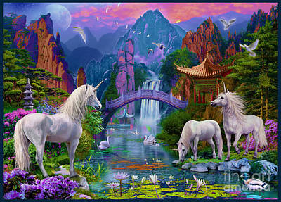 Waterlilies Digital Art - Chinese Unicorns by Jan Patrik Krasny
