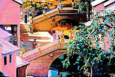 Chinese Village Bridges Art Print