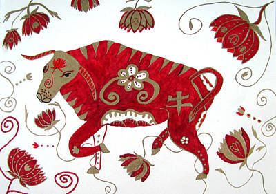 Drawing - Chinese Year Of The Ox by Barbara Giordano