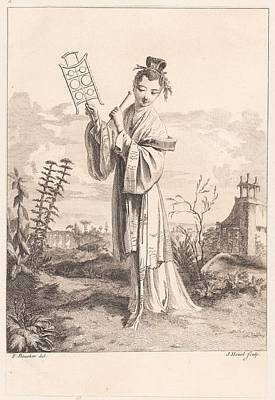Laurent Drawing - Chinoiserie With A Woman Playing by Jean Pierre Louis Laurent Ho�el