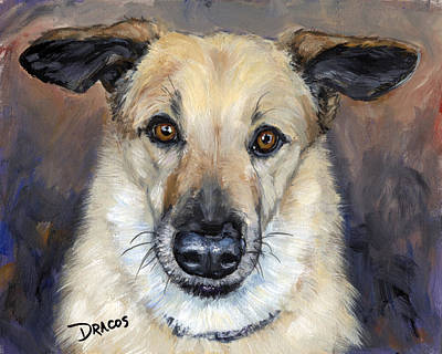 Sled Dogs Painting - Chinook With Helicoptor Ears by Dottie Dracos