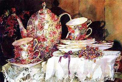 Tea Service Painting - Chintz And Lace by Sherri Crabtree