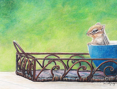 Drawing - Chipmunk In Blue Bowl by Charlotte Yealey
