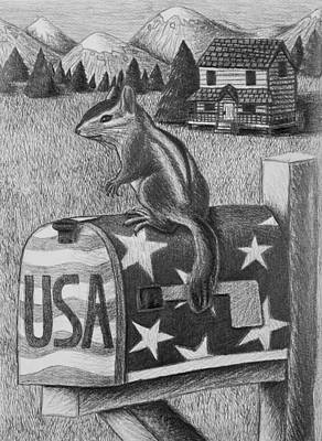 Mail Box Drawing - Chipmunk by Jeanette K