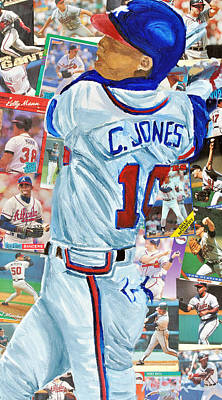 Baseball Card Painting - Chipper Jones 14 by Michael Lee