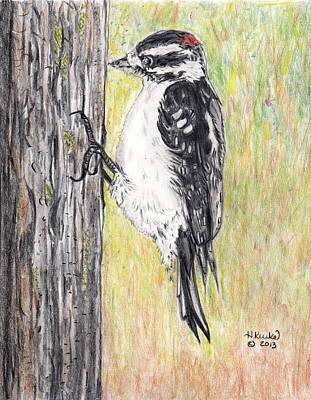Woodpecker Mixed Media - Chipping Away by Heidi Kunkel