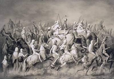 Running Horse Drawing - Chir Singh, Maharajah Of The Sikhs by A Soltykoff