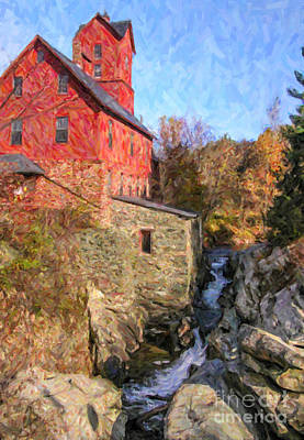 Digital Art - Chittenden Mill / Old Red Mill Jericho Vermont Usa by Liz Leyden