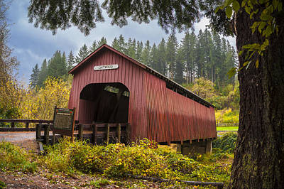 Oregon Covered Bridges Digital Art - Chitwood Bridge by Ramona Murdock