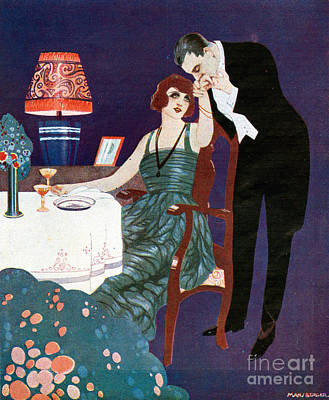 Drawing - Chivalry 1920s Spain Cc Dining Lamps by The Advertising Archives