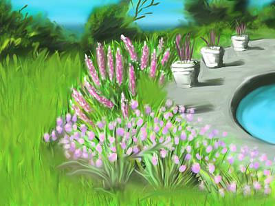Painting - Chives And Lupines by Jean Pacheco Ravinski