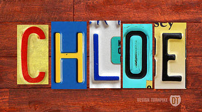 Chloe Mixed Media - Chloe License Plate Name Sign Fun Kid Room Decor by Design Turnpike