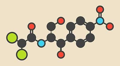 Toxicity Photograph - Chloramphenicol Antibiotic Drug Molecule by Molekuul